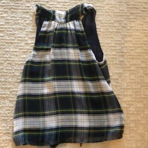 Sleeveless blouse with back bow tie . Navy /green